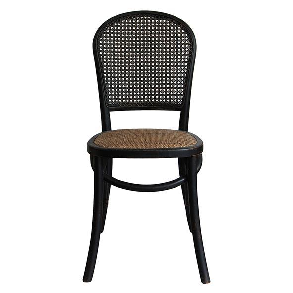 BLACK AND RATTAN CHAIR