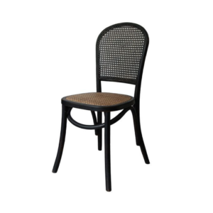 Oak and Rattan Black Chair